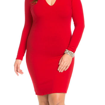 Deep V Neck Choker Plus Size Mini Dress Red