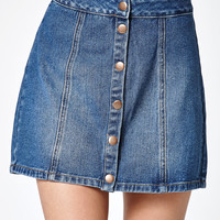 Bullhead Denim Co. Republic Wash Snap Front Denim Skirt at PacSun.com