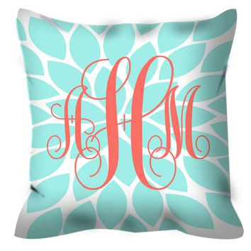 Monogram PILLOW Coral Aqua Flower Burst Custom THROW Pillow with Insert or Pillow SHAM Pillow Case Choose Colors & Size Decor Nursery Bed