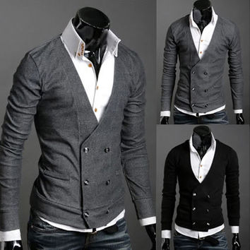 Double Breasted Men's Fashion Knit Cardigan