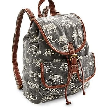 Tribal Elephant Washed Mini Backpack