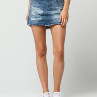 VANILLA STAR Premium Destructed Denim Mini Skirt | Short Skirts