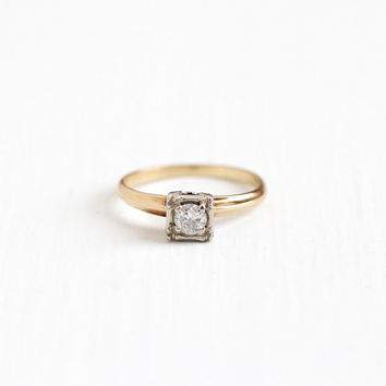 Vintage 14k Yellow & White Gold 1/5 Carat Diamond Solitaire Ring - Size 7 Mid Century 1940s Fine Flower Engagement Bridal Two Tone Jewelry
