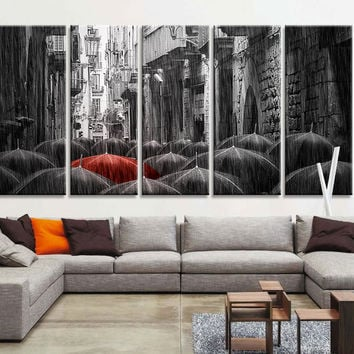 Oversize Art Canvas Prints - Red Umbrella Between Black Umbrella