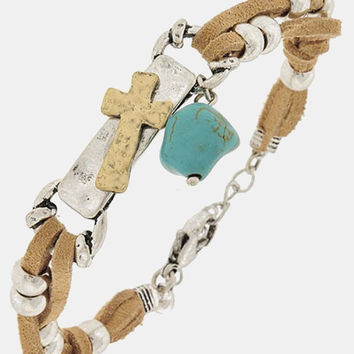 Light Brown Silver Beaded Suede Leather Silver and Gold Cross Charm Turquoise Stone Bracelet Bangle, gift