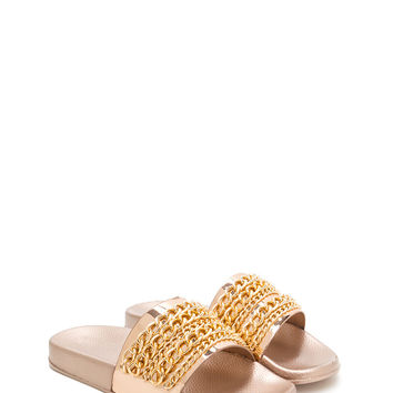 Chain Up Metallic Slide Sandals GoJane.com