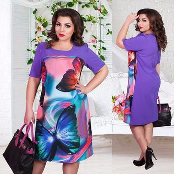 Big size 6XL 2016 Summer Dress woman Fashion butterfly printing Dresses Casual plus size women clothing 6xl Fat MM dress
