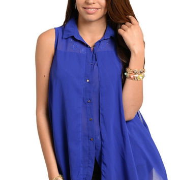 Sleeveless Trapeze Button Down Top