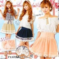 Front button♪Georgette×Tulle layered pantskirt◆5/23 ships planned
