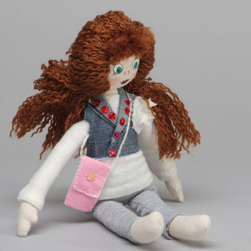Fabric doll with curly hair Natashka