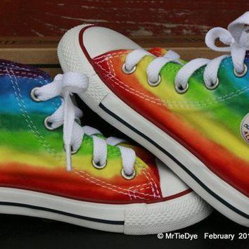 DCCK1IN toddler sz 8 rainbow hand dyed converse hi top sneakers
