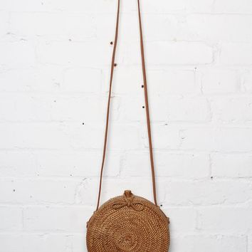 Woven Rattan Roundie Bag