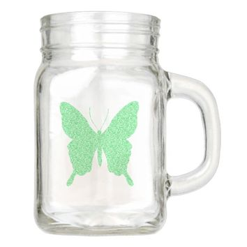 Green Faux Glitter Butterfly Mason Jar
