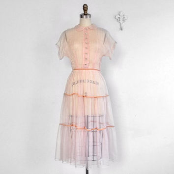 Vintage 1940's Sheer Pink Prom Princess Dress • Pink Velvet Trims