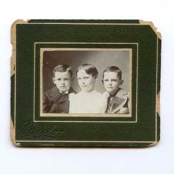 Antique Photograph Victorian Children Family Portrait Taylor Girl Boys Matted