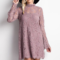 High Neck Lace Dress- Dusty Mauve