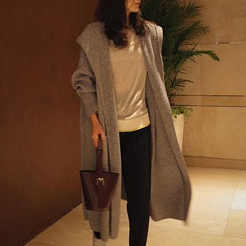 Autumn Over-knee Length Hooded Knitwear Solid Color Loose Cardigan for Women Slim Knitting Outerwear Coat with Pockets Topcoats