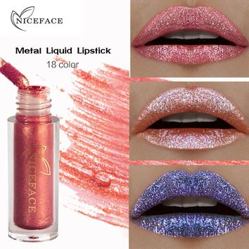 NICEFACE 6 Colors Makeup Diamond Shine Lip Gloss Waterproof Mermaid Charming Liquid Lipstick Glitter Tint Lip Make Up Tools