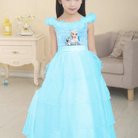 Children's Dresses Summer Girls Frozen Short sleeve Dress Baby Princess Dress Skirt Kids Clothing.