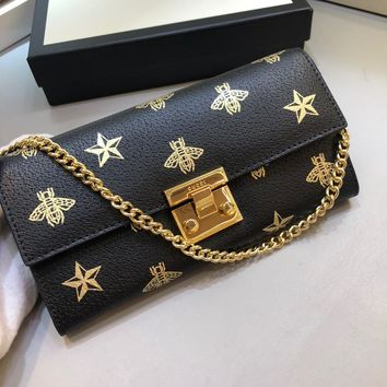 Kuyou Gb99822 Gucci 453506 Bee Star Black Leather Chain Wallet With Gold Clasp 19x11x3cm