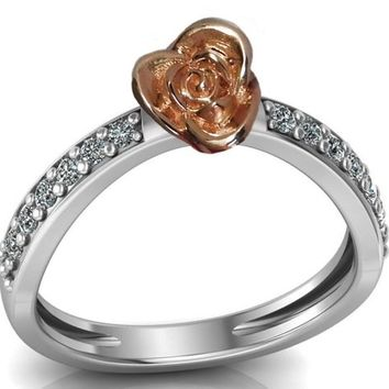 Unique Engagement Ring Curved Rose Flower Ring Contour Ring Dainty Promise Ring with Side Diamonds Floral ring For Her Valentines Gift