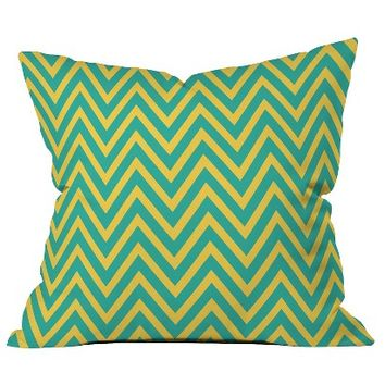 DENY Designs Teal Chartreuse Chevron Throw Pillow