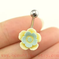 yellow double layer flower Belly Button jewelry,little flower Navel Jewelry, cute belly button ring,girlfriend gift,bellyring,oceantime