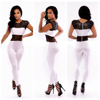 White Cap Sleeve Cut-Out Jumpsuit