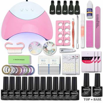 Timistory Nail Set with UV Led Lamp 36W 12 Color Nail Gel Polish Acrylic Nail Kit Base &Top Coat Gel Varnish Manicure Tools Set