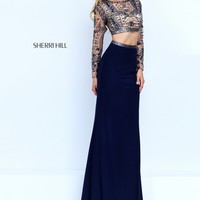 Sherri Hill 50097 Navy Long Sleeve Two Piece Jersey Gown