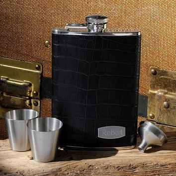 Personalized Executive Leather Flask Free Engraving