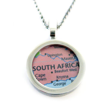 South Africa Map Pendant Necklace