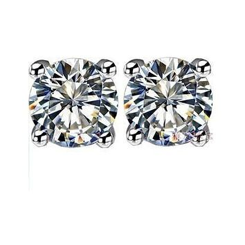 18K White Gold Mossanite 0.50CT Round Cut Stud Earrings