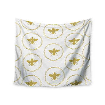 "Jennifer Rizzo ""Busy As A Bee White And Maize"" Yellow Nature Wall Tapestry"