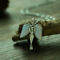 Crystal Winged Angel Necklace