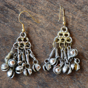 Vintage Pierced Earrings Indian Dangle Bell Silver Tone Chandelier Boho Gypsy Belly Dancing Ethnic 1980's // Vintage Costume Jewelry