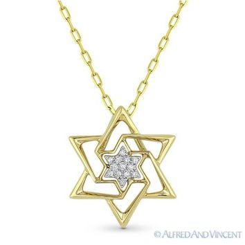 0.04 ct Diamond Star of David Magen Pendant Judaica Necklace in 14k Yellow Gold