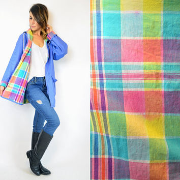 waterproof RAINBOW plaid100% pvc HOODED oversized boyfriend RAINCOAT slicker, extra small-medium