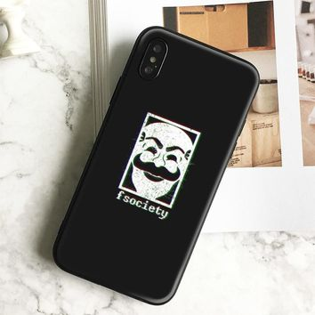 Fsociety mask Mr. Robot soft silicone TPU Phone Case cover Shell For Apple iPhone 5 5S SE 6 6S 6Plus 6sPlus 7 7Plus 8 8Plus X