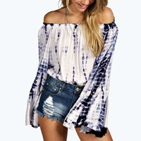 Kelly Off The Shoulder Tie Dye Bell Sleeved Top