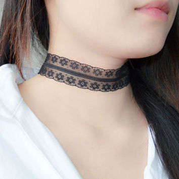 Fashion Jewelry Elegant Black Lace Crochet Small Flowers Choker Necklace For Women Ladies Girls