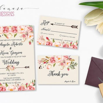 Floral Wedding Invitation Pink Flowers Boho Digital Invite Peonies Tribal Arrows Printable Wedding Suite Bohemian Wedding Set - WS023