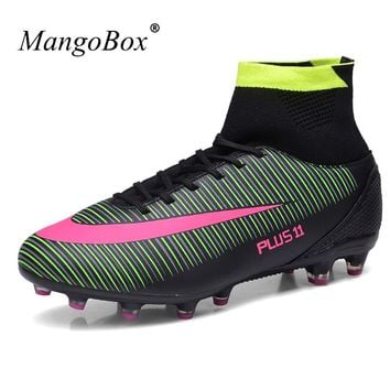 Football Boots Men Soccer Cleats Anti-slip Soccer Cleats High Ankle Football Shoes Artificial Grass Men Football Training Boots