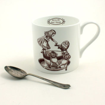 Alice in Wonderland Bone China Mug  Big Tea or Coffee Whimsical Carrol White Brown Cup