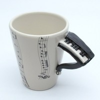 Piano Mug Musical Lover Mug Ceramic Handmade 3D Cup Decoration Gift