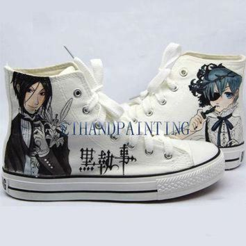 DCKL9 Black Butler Paint on Converse Sneakers, Hand Painting Converse Sneakers Kuroshitsuji