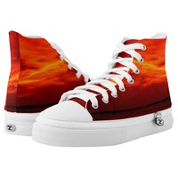 Red Sky Zipz High Top Sneakers, Printed Shoes
