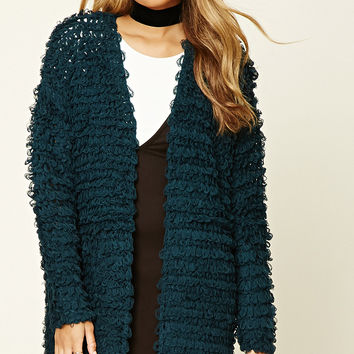 Loop Knit Open-Front Cardigan