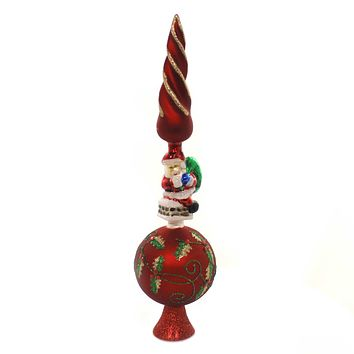Tree Topper Finial TREETOP WITH SANTA Glass Holly Glitter Gg0497