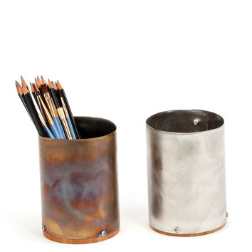 Stainless Steel & Bamboo Pencil Cup